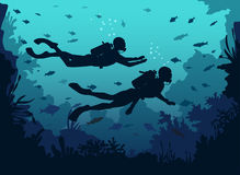 Man and woman scuba divers silhouette swimming in deep sea. stock illustration