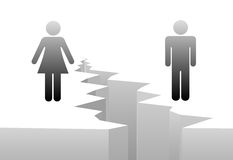 Man woman separation by divorce gender gap. An estranged man and woman are separated by divorce or a gender gap Stock Images