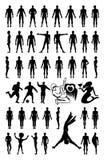 Man woman set silhouettes Stock Image
