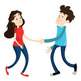 Man and woman shake hands. On white background vector illustration