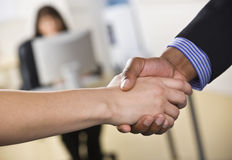 Man and Woman Shaking Hands Royalty Free Stock Photos
