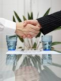 Man and woman shaking hands over signed insurance Royalty Free Stock Photography