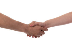 Man and woman shaking hands Stock Image