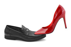 Man and woman shoes royalty free stock photography