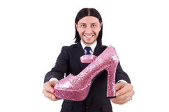 Man with woman shoes isolated on white. Man with  woman shoes  on white Royalty Free Stock Photo