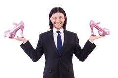 Man with woman shoes isolated on white. Man with  woman shoes  on white Royalty Free Stock Photos