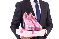Man with woman shoes isolated on white Royalty Free Stock Photos