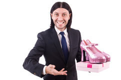 Man with woman shoes isolated on white. Man with  woman shoes  on white Stock Image
