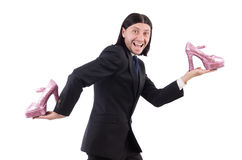 Man with woman shoes isolated on white Stock Photos