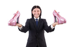 Man with woman shoes isolated on white. Man with  woman shoes  on white Stock Photo