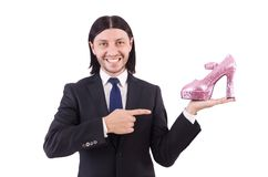 Man with woman shoes isolated on white. Man with woman shoes isolated on the white Royalty Free Stock Photography