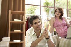 Man and Woman in Shop royalty free stock images