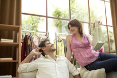 Man and Woman in Shop Stock Photos
