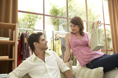Man and Woman in Shop Stock Images