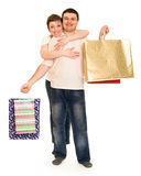 Man and woman with shopping bag Stock Photos
