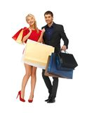 Man and woman with shopping bags Royalty Free Stock Photo