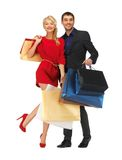 Man and woman with shopping bags Stock Photography