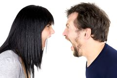 Man and woman shouting strong at each other isolated Royalty Free Stock Photos
