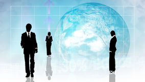 Man and woman showing  teamwork in busines concept. With globe in background Royalty Free Stock Photos
