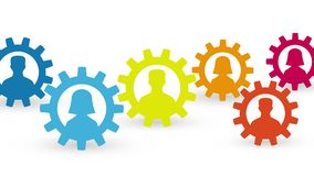 Man and woman silhouette in colorful gears social network concept loop animation