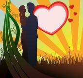 Man and woman silhouette in love with sunset. Vector illustration. Man and woman silhouette in love on heart and sunset background Stock Photo