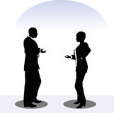 Man and woman silhouette in meeting pose Royalty Free Stock Image