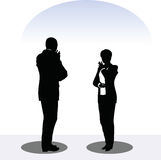 Man and woman silhouette in meeting pose Stock Image