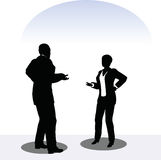 Man and woman silhouette in meeting pose Stock Photography