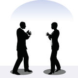 Man and woman silhouette in meeting pose Stock Photos