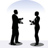 Man and woman silhouette in meeting pose Royalty Free Stock Photography