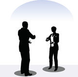 Man and woman silhouette in meeting pose Royalty Free Stock Photos