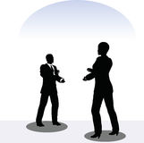 Man and woman silhouette in meeting pose Royalty Free Stock Images