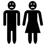 Man and woman silhouette - sad faces Royalty Free Stock Photography