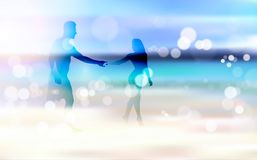 Man And Woman Silhouette On Seaside Hold Hands Walking To Beach Blurred Bokeh Effect Beautiful Glowing Background. Vector Illustration Royalty Free Stock Photography