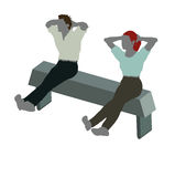 man and woman silhouette in Sitting On Chair pose Stock Photo