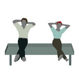 man and woman silhouette in Sitting On Chair pose Royalty Free Stock Image