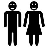 Man and woman silhouette - smiling faces Stock Photo