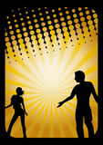 Man and woman silhouettes. A man and a woman silhouetted on a yellow and black background Stock Photography