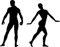 Man and Woman Silhouettes. Beautiful poses for man and woman, male and female, ized Stock Photo