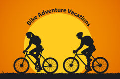 Man and Woman Silhouettes Bikers at Sunset. Man and Woman Silhouettes Bikers make a cycling tour. Couple traveling by bikes vector illustration Stock Photos