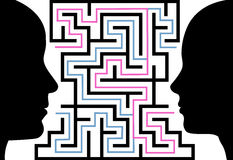Man woman silhouettes face puzzle maze. A male female couple communicate to solve a maze of love or other problems in a puzzle Stock Images