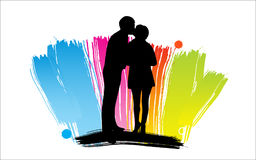 Happy cartoon family. Man and woman silhouettes, Happy cartoon family Royalty Free Stock Photos
