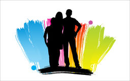 Happy cartoon family. Man and woman silhouettes, Happy cartoon family Royalty Free Stock Images