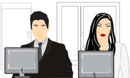 Man and woman sit for computer in office Stock Images