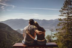 Man and Woman Sitting on Bench Royalty Free Stock Images