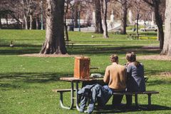 Man and Woman Sitting on Brown Wooden Picnic Table Royalty Free Stock Photo