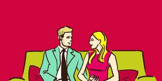 Man and woman sitting on the couch in the room and chatting. Couple at home. Husband and wife. Colorful cartoon vector sketch Royalty Free Stock Photos