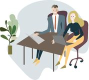 A man and a woman are sitting at a desk with laptops, office fur royalty free illustration