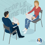 Man and woman sitting with notebooks. Office abstract. Isometric 3d flat design vector people different characters, styles and professions, full length diverse Royalty Free Stock Photos
