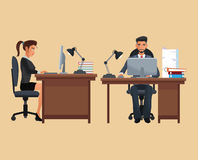 Man woman sitting place working desk Stock Photos